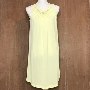 Vintage Yellow Embroidered Chemise Nightgown